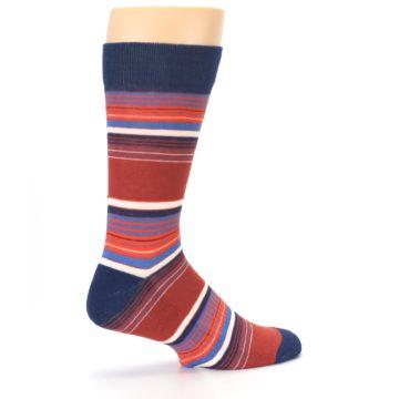 Image of Navy Orange Stripes Men's Dress Socks (side-1-23)