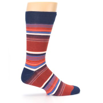 Image of Navy Orange Stripes Men's Dress Socks (side-1-24)
