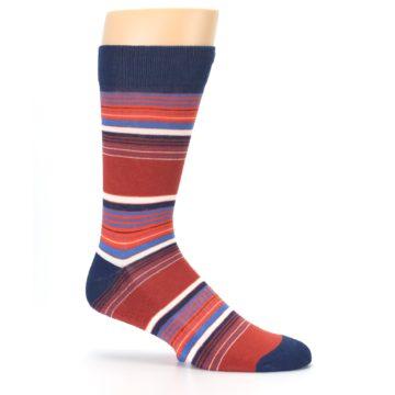 Image of Navy Orange Stripes Men's Dress Socks (side-1-25)