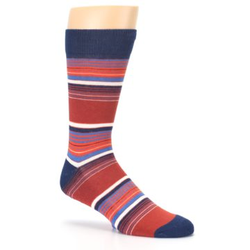 Image of Navy Orange Stripes Men's Dress Socks (side-1-26)