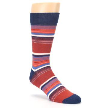 Image of Navy Orange Stripes Men's Dress Socks (side-1-27)