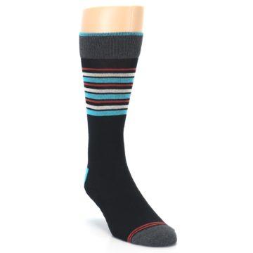 Image of Black Blue Orange Stripes Men's Dress Socks (side-1-front-02)