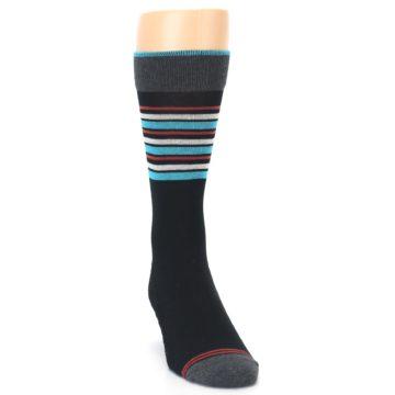 Image of Black Blue Orange Stripes Men's Dress Socks (side-1-front-03)