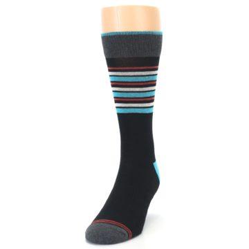 Image of Black Blue Orange Stripes Men's Dress Socks (side-2-front-06)