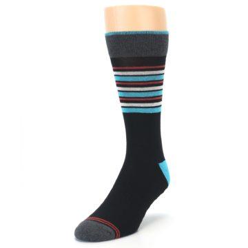 Image of Black Blue Orange Stripes Men's Dress Socks (side-2-front-07)