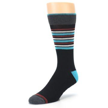 Image of Black Blue Orange Stripes Men's Dress Socks (side-2-front-08)