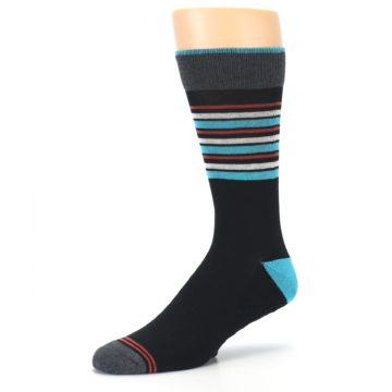 Image of Black Blue Orange Stripes Men's Dress Socks (side-2-09)