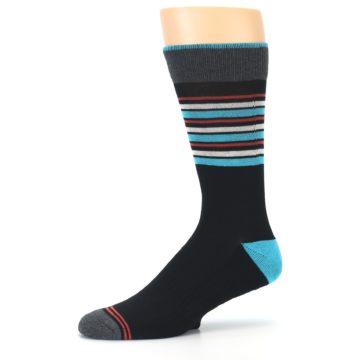 Image of Black Blue Orange Stripes Men's Dress Socks (side-2-10)