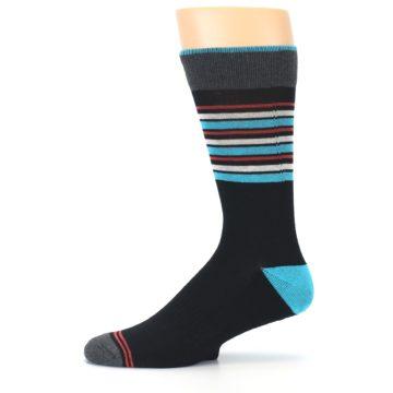 Image of Black Blue Orange Stripes Men's Dress Socks (side-2-11)