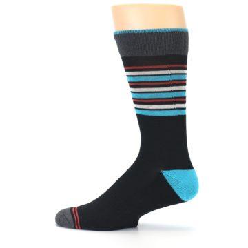 Image of Black Blue Orange Stripes Men's Dress Socks (side-2-12)