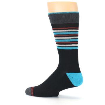 Image of Black Blue Orange Stripes Men's Dress Socks (side-2-13)
