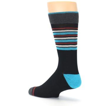 Image of Black Blue Orange Stripes Men's Dress Socks (side-2-back-14)