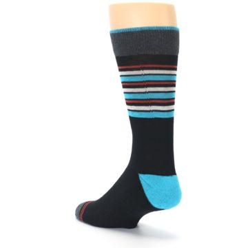 Image of Black Blue Orange Stripes Men's Dress Socks (side-2-back-15)