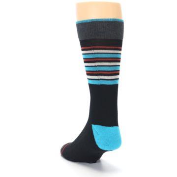 Image of Black Blue Orange Stripes Men's Dress Socks (side-2-back-16)