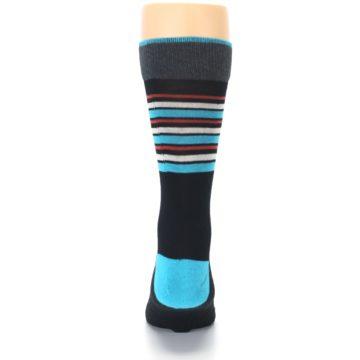 Image of Black Blue Orange Stripes Men's Dress Socks (back-18)