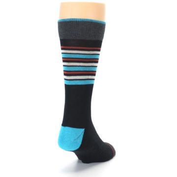 Image of Black Blue Orange Stripes Men's Dress Socks (side-1-back-20)