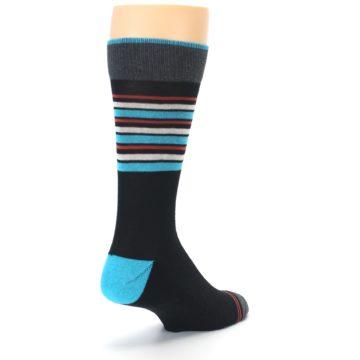 Image of Black Blue Orange Stripes Men's Dress Socks (side-1-back-21)