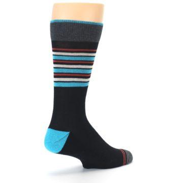 Image of Black Blue Orange Stripes Men's Dress Socks (side-1-back-22)
