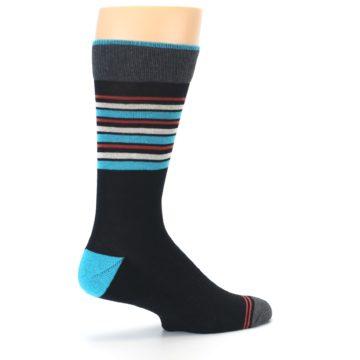 Image of Black Blue Orange Stripes Men's Dress Socks (side-1-23)
