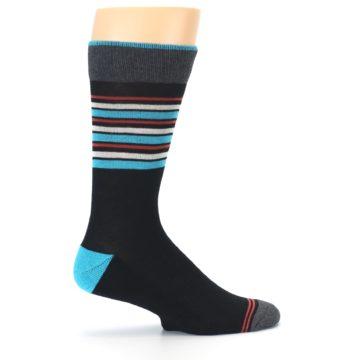 Image of Black Blue Orange Stripes Men's Dress Socks (side-1-24)