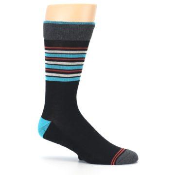 Image of Black Blue Orange Stripes Men's Dress Socks (side-1-25)