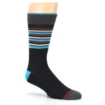 Image of Black Blue Orange Stripes Men's Dress Socks (side-1-26)
