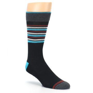 Image of Black Blue Orange Stripes Men's Dress Socks (side-1-27)