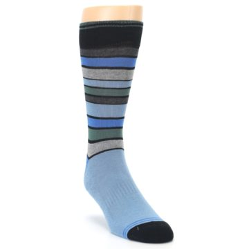 Image of Light Blue Greys Stripes Men's Dress Socks (side-1-front-02)