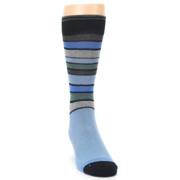 Image of Light Blue Greys Stripes Men's Dress Socks (side-1-front-03)