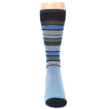 Image of Light Blue Greys Stripes Men's Dress Socks (front-04)