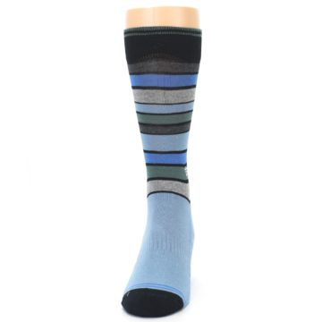 Image of Light Blue Greys Stripes Men's Dress Socks (front-05)