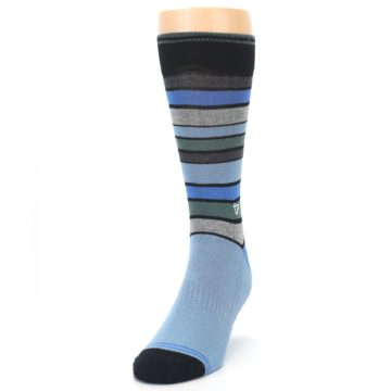 Image of Light Blue Greys Stripes Men's Dress Socks (side-2-front-06)