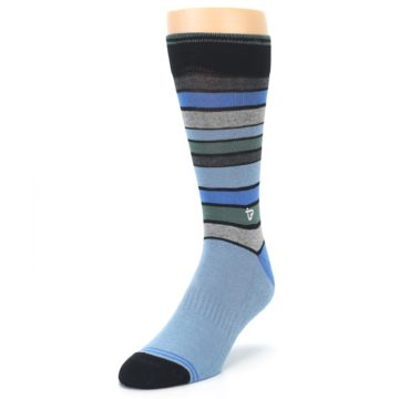 Image of Light Blue Greys Stripes Men's Dress Socks (side-2-front-07)