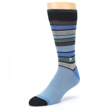 Image of Light Blue Greys Stripes Men's Dress Socks (side-2-front-08)