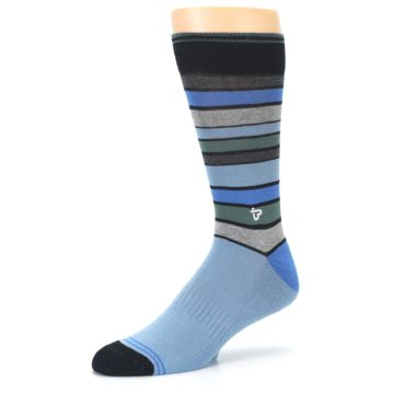 Image of Light Blue Greys Stripes Men's Dress Socks (side-2-09)