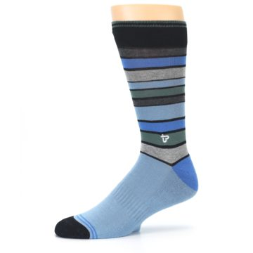 Image of Light Blue Greys Stripes Men's Dress Socks (side-2-10)