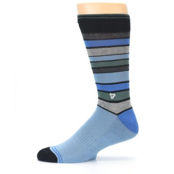 Image of Light Blue Greys Stripes Men's Dress Socks (side-2-11)