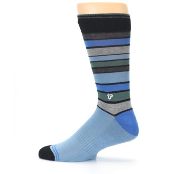 Image of Light Blue Greys Stripes Men's Dress Socks (side-2-12)