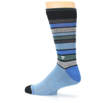 Image of Light Blue Greys Stripes Men's Dress Socks (side-2-13)