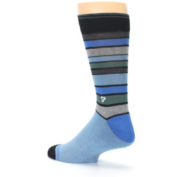 Image of Light Blue Greys Stripes Men's Dress Socks (side-2-back-14)
