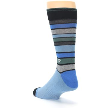 Image of Light Blue Greys Stripes Men's Dress Socks (side-2-back-15)