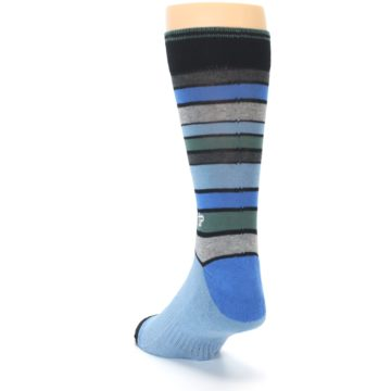 Image of Light Blue Greys Stripes Men's Dress Socks (side-2-back-16)