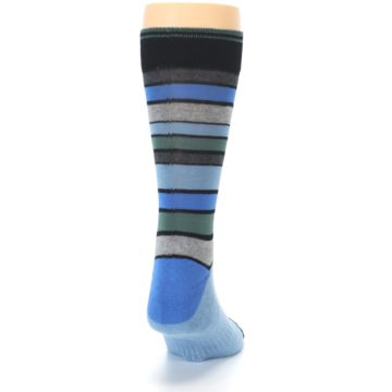 Image of Light Blue Greys Stripes Men's Dress Socks (back-19)