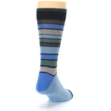 Image of Light Blue Greys Stripes Men's Dress Socks (side-1-back-20)