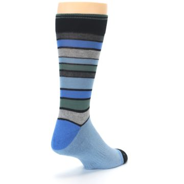 Image of Light Blue Greys Stripes Men's Dress Socks (side-1-back-21)