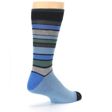 Image of Light Blue Greys Stripes Men's Dress Socks (side-1-back-22)