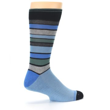 Image of Light Blue Greys Stripes Men's Dress Socks (side-1-23)