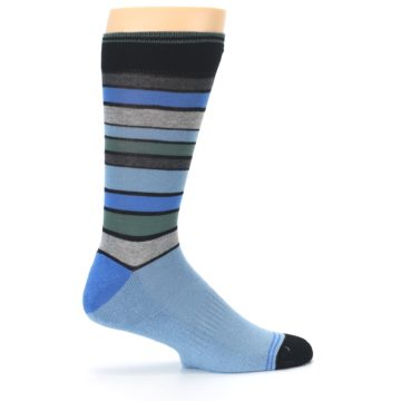 Image of Light Blue Greys Stripes Men's Dress Socks (side-1-24)