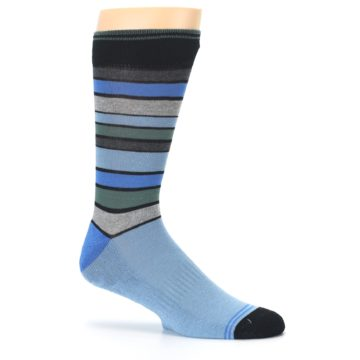Image of Light Blue Greys Stripes Men's Dress Socks (side-1-25)