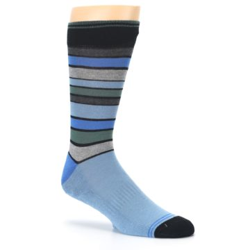 Image of Light Blue Greys Stripes Men's Dress Socks (side-1-26)